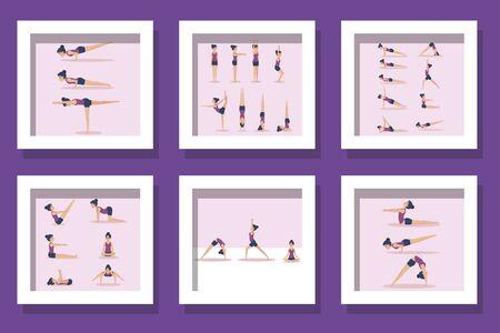 bundle of women practicing yoga vector illustration design Stock Illustratie