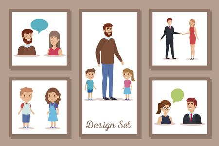 bundle of designs teachers with students vector illustration design Illustration