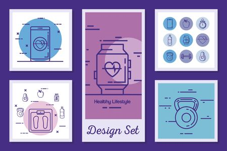 designs set of lifestyle healthy and icons vector illustration design Stock Illustratie