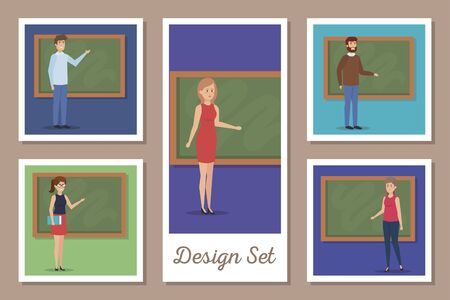 design set of teachers with chalkboard vector illustration design