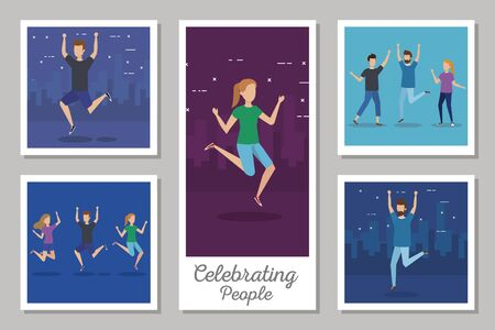 bundle of scenes people celebrating vector illustration design Ilustracja