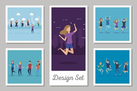 designs set scenes people celebrating vector illustration design Ilustracja