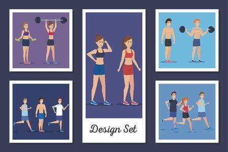 designs set of people practicing exercise vector illustration design Stock Illustratie