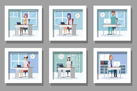 bundle of medical people in the workplace vector illustration design
