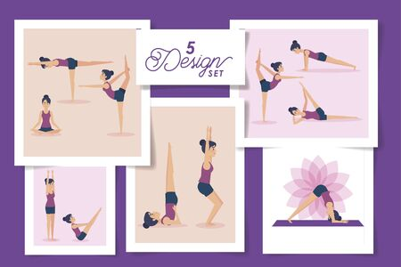 five designs of women practicing yoga vector illustration design Stock Illustratie