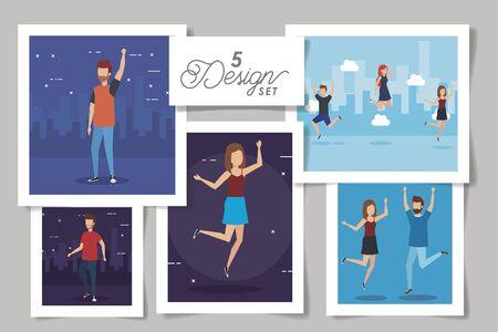 five designs of people celebrating vector illustration design