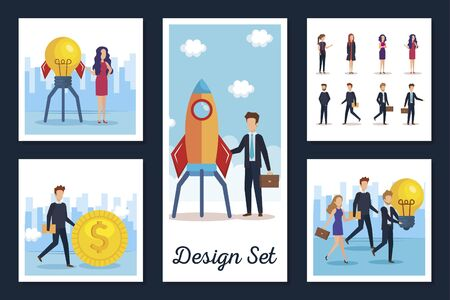 designs set of business people and icons vector illustration design