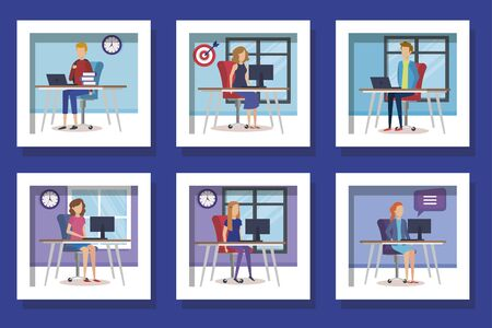 bundle of teamwork people and icons vector illustration design Illusztráció