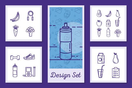 designs set of lifestyle healthy and icons vector illustration design Stockfoto - 135493134