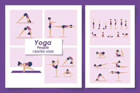 six designs of women practicing yoga vector illustration design Stockfoto - 135493870
