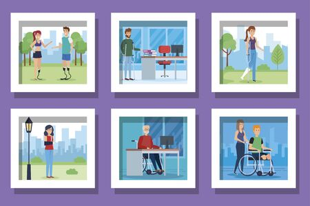 bundle of people disabled scenes vector illustration design