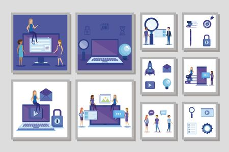 bundle of business people scenes and icons vector illustration design Illustration
