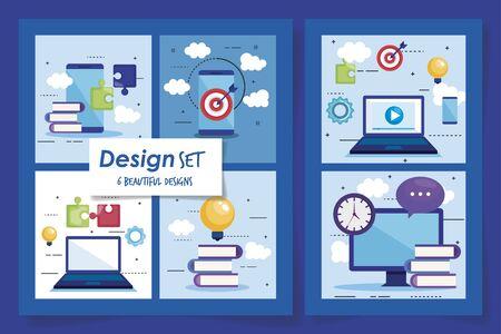 six designs of teamwork set icons vector illustration design