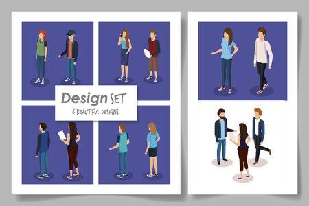 set six designs of business people vector illustration design