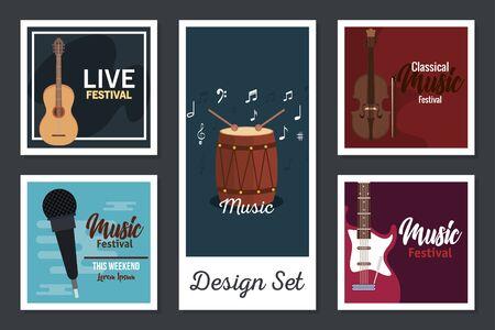 designs set poster of instruments musicals vector illustration design
