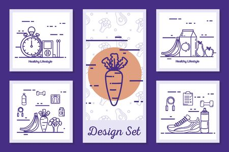 designs set of lifestyle healthy and icons vector illustration design Stockfoto - 135496864