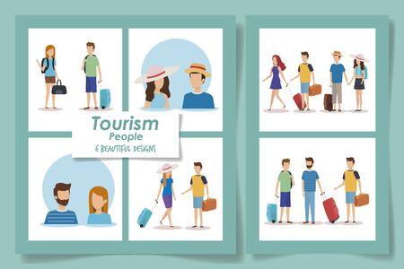 six designs of tourism people vector illustration design