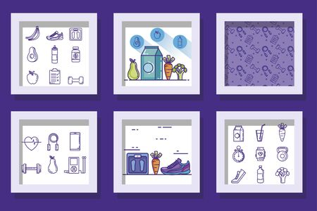 bundle of designs of lifestyle healthy and icons vector illustration design Stockfoto - 135496170