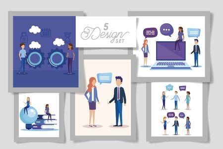 five designs of business people and set icons vector illustration design Illusztráció