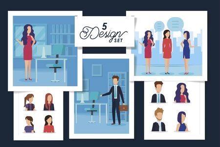 five designs of scenes business people and workplaces vector illustration design Illustration