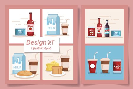six designs set of products supermarket vector illustration design Reklamní fotografie - 135496878