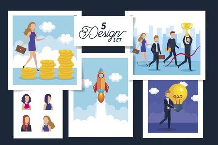 five designs of business people scenes and icons vector illustration design Illusztráció
