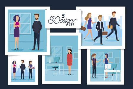 five designs of scenes business people and workplaces vector illustration design Illusztráció