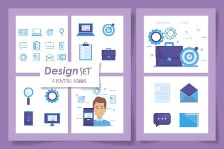six designs of businessman and icons vector illustration design