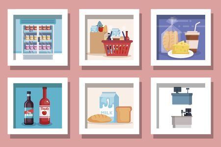 bundle of designs supermarket products vector illustration design Reklamní fotografie - 135499183