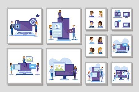bundle of business people scenes and icons vector illustration design Illusztráció