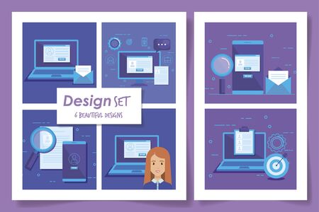 six designs of businesswoman and icons vector illustration design