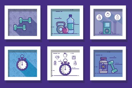 bundle of designs of lifestyle healthy and icons vector illustration design Çizim