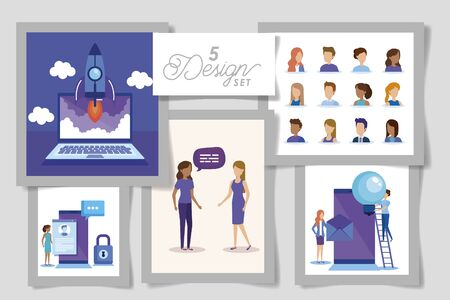 five designs of business people and set icons vector illustration design Illustration