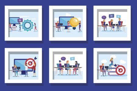 bundle of teamwork people and icons vector illustration design Illustration