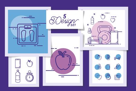 five designs of lifestyle healthy and icons vector illustration design Stockfoto - 135500602