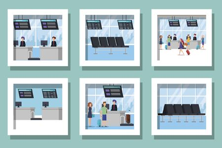 bundle of people in airport place scenes vector illustration design