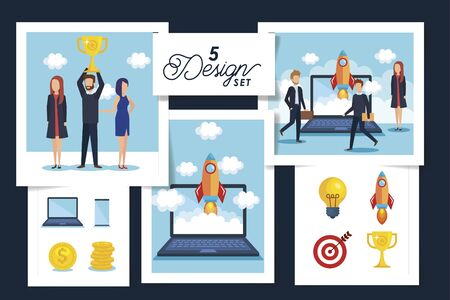 five designs of business people scenes and icons vector illustration design Illustration