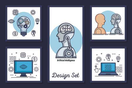 Paquete de diseños de inteligencia artificial y establecer iconos, diseño de ilustraciones vectoriales