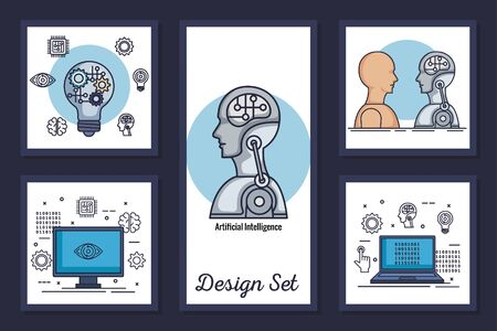 bundle of designs intelligence artificial and set icons vector illustration design