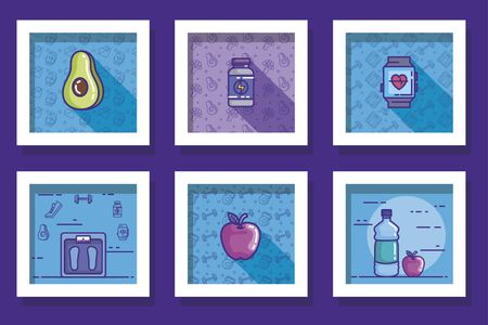 bundle of designs of lifestyle healthy and icons vector illustration design Stock Illustratie