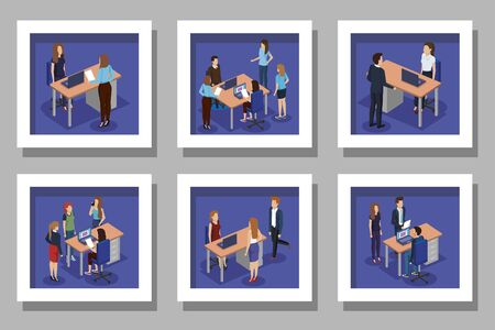 set designs with business people in the workplace vector illustration design