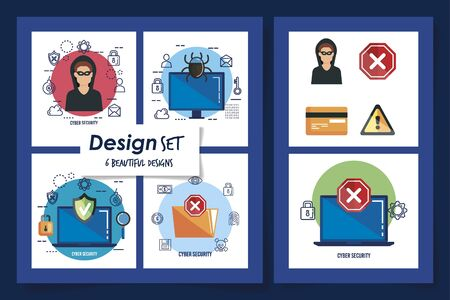 six designs of cyber security and set icons vector illustration design Ilustração