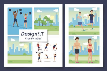 six designs of people practicing exercise vector illustration design Stockfoto - 135501116