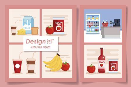 six designs set of products supermarket vector illustration design