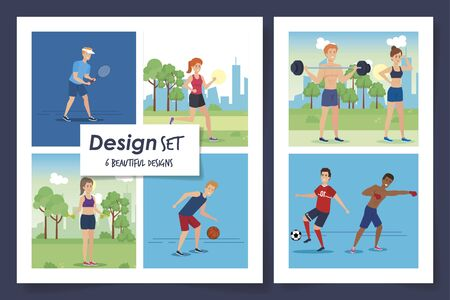 six designs of people practicing exercise vector illustration design Stockfoto - 135501121
