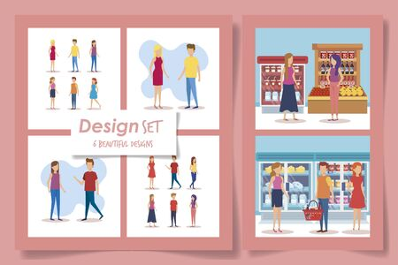 six designs of supermarket customer vector illustration design Stock Illustratie