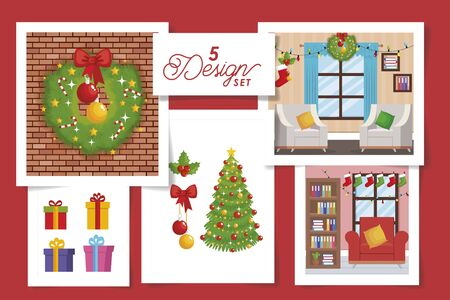 five designs scenes christmas decorative vector illustration design Banque d'images - 135503006