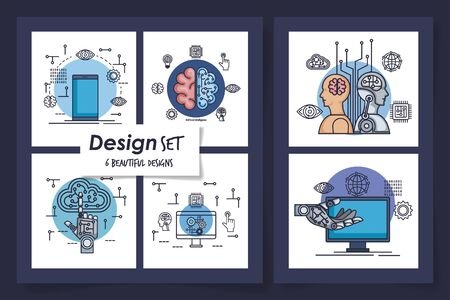 six designs of intelligence artificial and set icons vector illustration design Stock Vector - 135503007