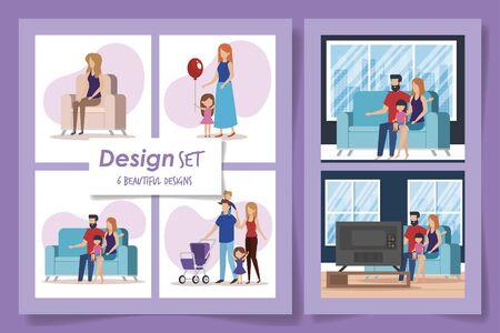 six designs of members family scenes vector illustration design
