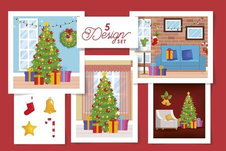 five designs scenes christmas decorative vector illustration design Banque d'images - 135503009